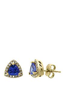 Effy® 1/8 ct. t.w. Diamond and 1.05 ct. t.w. Tanzanite Earrings in 14k Yellow Gold