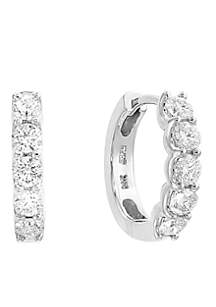 0.98 ct. t.w. Diamond Hoop Earrings in 14k White Gold