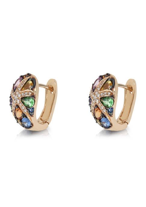 1/4 Diamond and Multi-Gemstone Hoop Earrings in 14K Yellow Gold