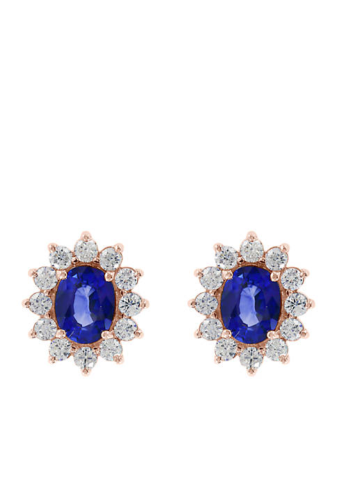 1.65 ct. t.w. Diamond Natural Sapphire Earrings in 14k Rose Gold