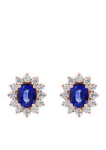 Effy® 1.65 ct. t.w. Diamond Natural Sapphire Earrings in 14k Rose Gold
