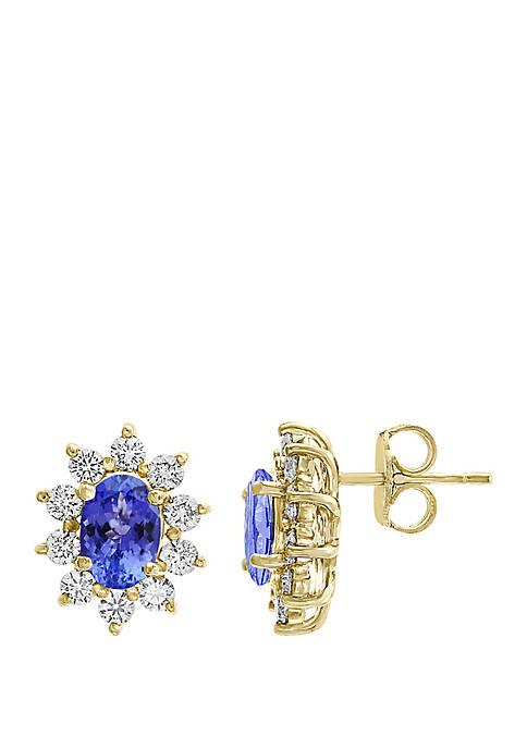 1.33 ct. t.w. Tanzantine and 0.78 ct. t.w. Diamond Earrings in 14K Yellow Gold