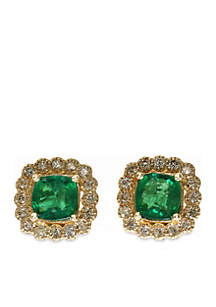 14k Yellow Gold Diamond Natural Emerald Earrings