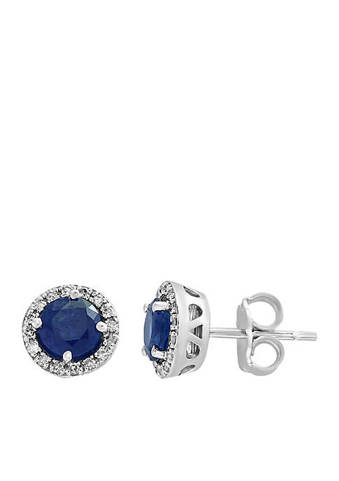 Effy® 1/8 ct. t.w. Diamond Natural Sapphire Earrings