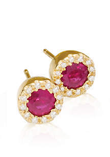Round Ruby & Diamond Earrings in 14K Yellow Gold
