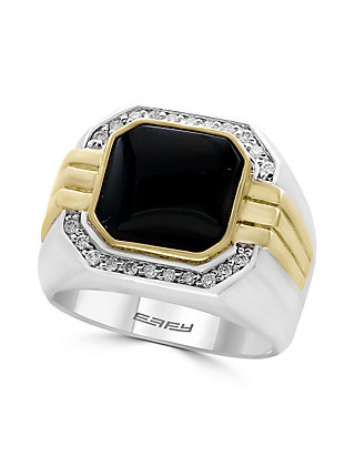 d61588a655815 Sterling Silver 14k Yellow Gold Diamond Onyx Mens Ring