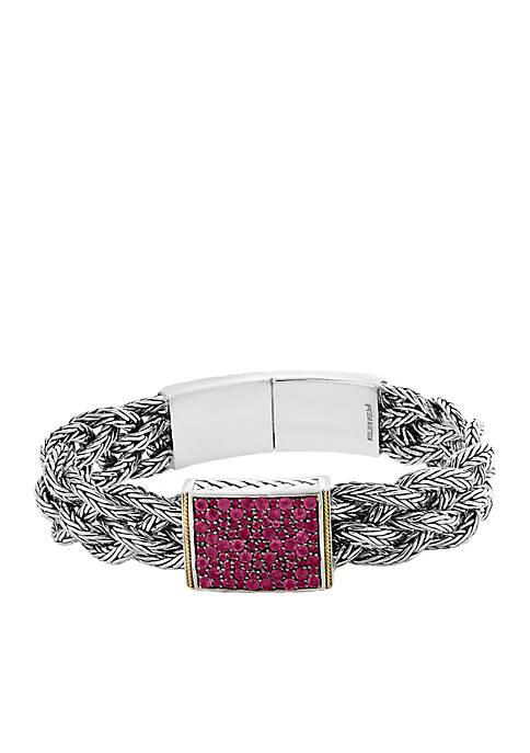 Sterling Silver/18k Yellow Gold Ruby Bracelet