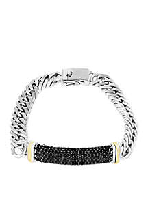 4.20 ct. t.w. Black Sapphire Bracelet In Sterling Silver And 18k Yellow Gold