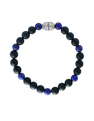 167054a2a2a6f Mens' Meteorite and Lapis Lazuli Beaded Bracelet