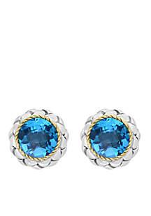18K Sterling Silver Blue Topaz Earrings