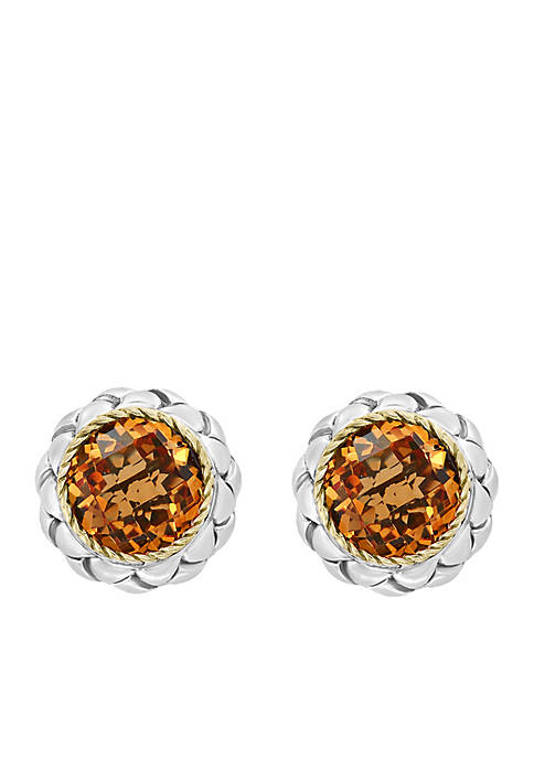 4.20 ct. t.w. Citrine Earrings in Sterling silver and 18k Yellow Gold