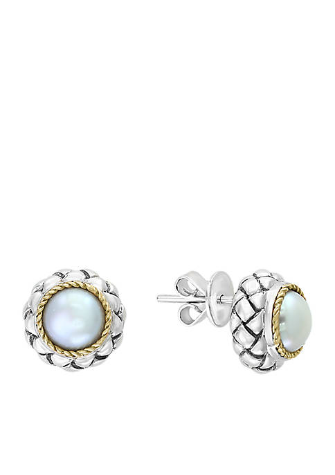 Freshwater Pearl Button Earrings in Sterling Silver and 18k Yellow Gold