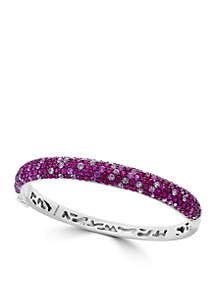 Sterling Silver Ruby, Pink And White Sapphire Bangle Bracelet