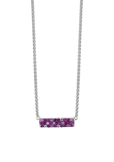 Effy® Sterling Silver Ruby Pink Sapphire Bar Necklace