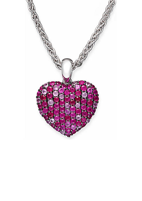 Effy® Sterling Silver Ruby Pink Sapphire Heart Pendant