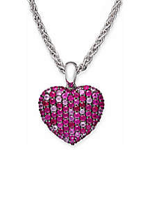Sterling Silver Ruby Pink Sapphire Heart Pendant Necklace