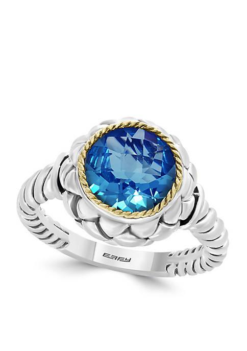 Effy® 18k Sterling Silver Blue Topaz Ring