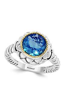 18k Sterling Silver Blue Topaz Ring