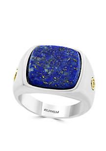 Sterling Silver Gold Lapis Lazuli Ring