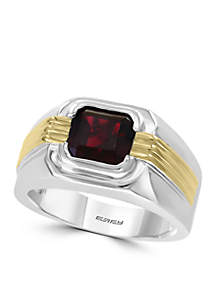 Mens 3.70 ct. t.w. Garnet Ring in Sterling Silver and 14k Yellow Gold