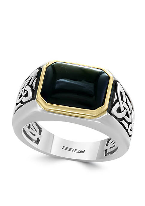 Sterling Silver Yellow Gold Onyx Ring