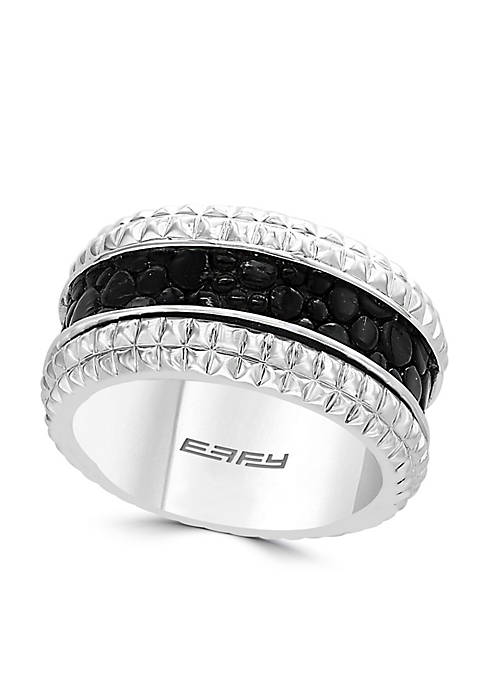 Effy® Sterling Silver With Leather Insert Ring