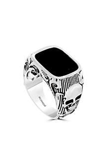 Effy® Sterling Silver Onyx Skull Ring