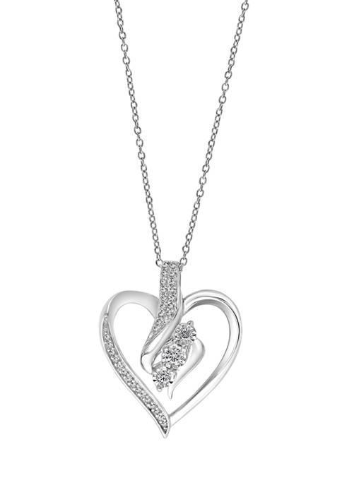1/4 ct. t.w. Diamond Heart Pendant Necklace in Sterling Silver