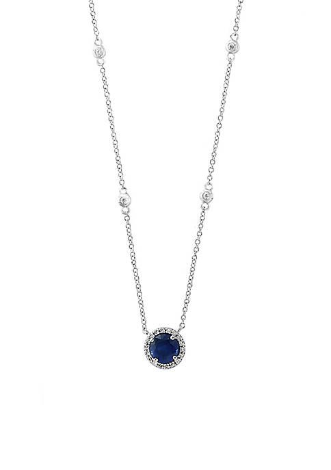Effy® 1/10 ct. t.w. Diamond Natural Sapphire Pendant