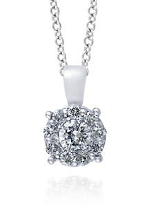 0.47 ct. t.w. Diamond Cluster Pendant in 14K White Gold