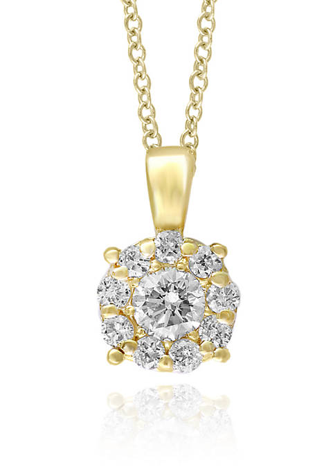 Effy® Cluster Diamond Pendant Necklace in 14K Yellow