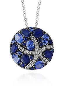 Sapphire & Diamond Starfish Necklace in 14K White Gold