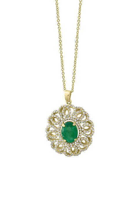 Effy® 3/4 ct. t.w. Diamond Natural Emerald Pendant