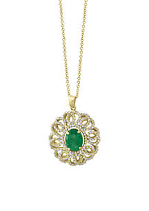 Effy® 3/4 ct. t.w. Diamond Natural Emerald Pendant Necklace in 14k Yellow Gold