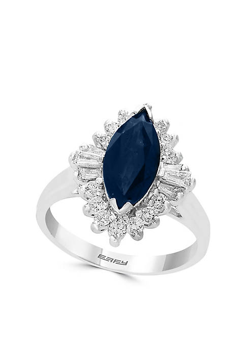 Effy® 1/2 ct. t.w. Diamond Natural Sapphire Cluster