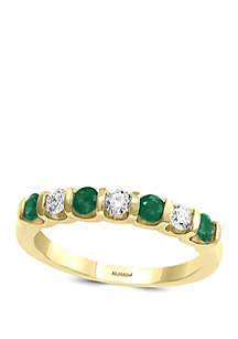 Effy® 1/4 ct. t.w. Diamond and 3/8 ct. t.w. Natural Emerald Ring in 14k Yellow Gold