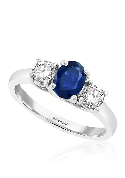 White & Blue Oval Sapphire Ring in 14K White Gold