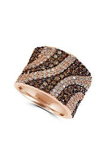 Effy® 1.80 ct. t.w. Diamond Espresso Diamond Band Ring in 14k Rose Gold