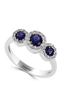 Effy® 1/6 ct. t.w. Diamond and 4/5 ct. t.w. Natural Sapphire Ring in 14k White Gold