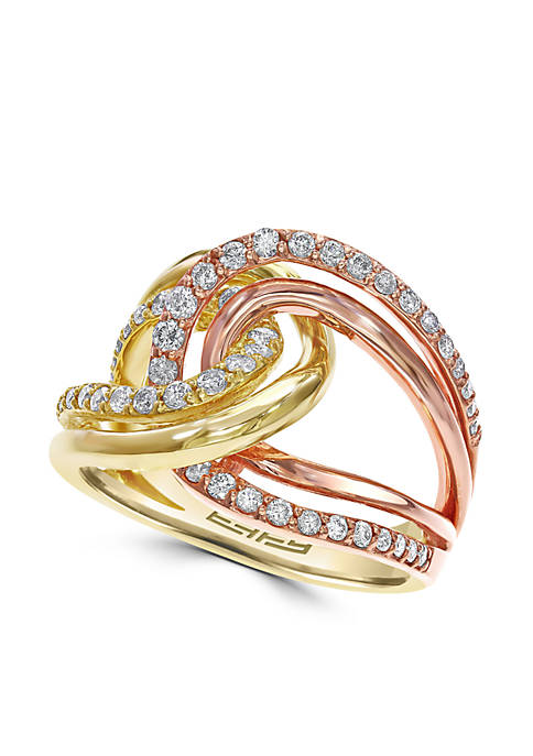 5/8 ct. t.w. Diamond Statement Ring in 14k Yellow Gold and Rose Gold