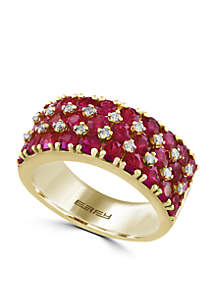 Effy® 14k Yellow Gold, Diamond and Ruby Ring