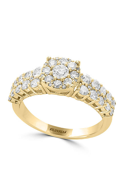 Effy® 14K Yellow-Gold Diamond Cluster Ring