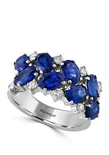 4.87 ct. t.w. Sapphire Cluster Ring In 14k White Gold