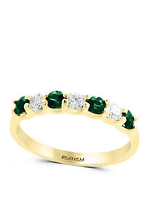 1/4 ct. t.w. Diamond and Natural Emerald Band Ring in 14k Yellow Gold