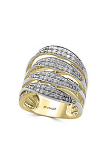 Effy® 1.31 ct. t.w. Diamond Band Ring in 14k Yellow Gold and White Gold
