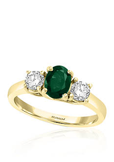 Effy® Emerald and White Sapphire Ring in 14k Yellow Gold