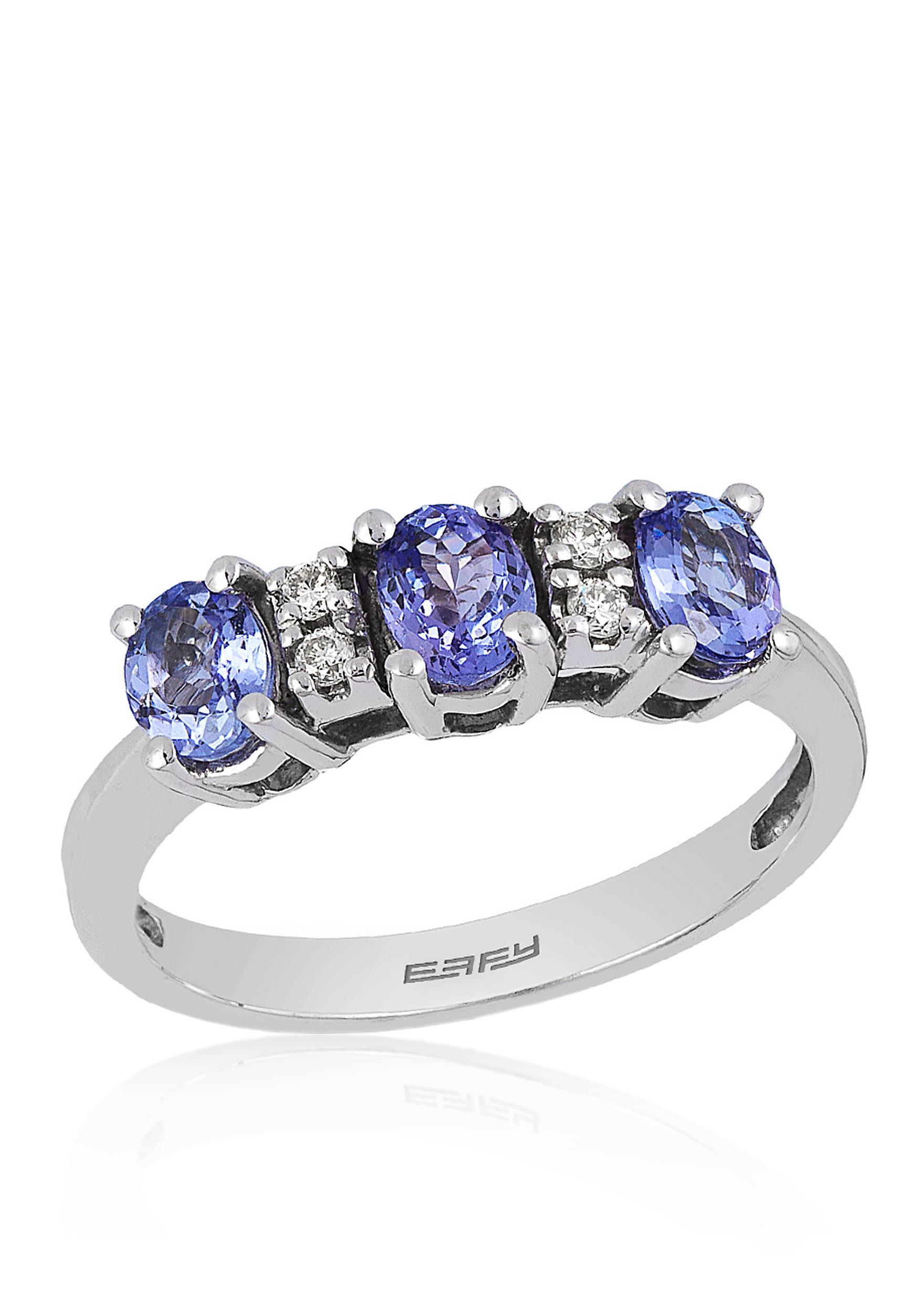 Effy® Tanzanite and Diamond Ring in 14K White Gold | belk