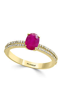Effy® 14k Yellow Gold, Diamond and Mozambique Ruby Ring