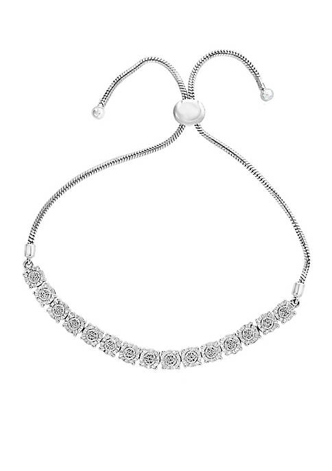 Effy® Sterling Silver Diamond Illusion Bolo Bracelet
