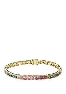 Effy® 5/8 ct. t.w. Diamond and 6.46 ct. t.w. Multi Sapphires Bracelet in 14k Yellow Gold
